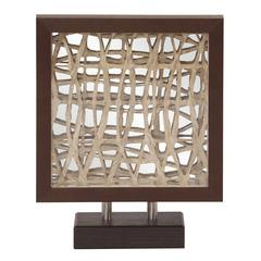 Tea Stained Abstract Paper in Walnut Frame