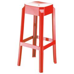 Fox Polycarbonate Bar Stool Glossy Red, Set of 2