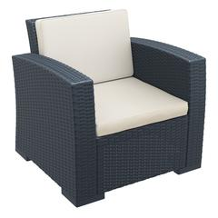 Monaco Resin Patio Club Chair Dark Gray with Cushion