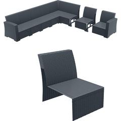 Monaco Sectional Extension Part Dark Gray with Cushion