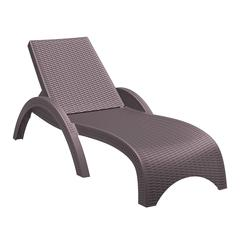 Miami Resin Wickerlook Chaise Lounge Brown, Set of 2