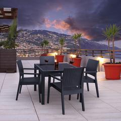 Miami Wickerlook Square Dining Set 5 Piece Dark Gray with Armchairs