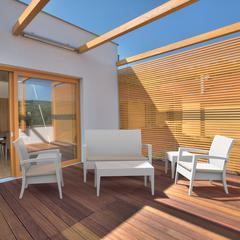 Miami Resin Wickerlook Conversation Set 6 piece White