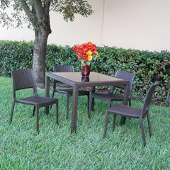 Miami Wickerlook Square Dining Set 5 Piece Brown with Side Chairs