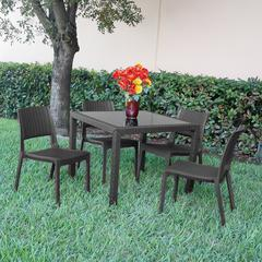Miami Wickerlook Square Dining Set 5 Piece Dark Gray with Side Chairs