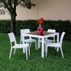Miami Wickerlook Square Dining Set 5 Piece White with Side Chairs