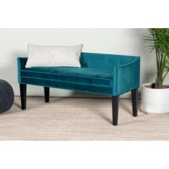 Leffler Home Gracie Button Tufted Upholstered Bench in Chantel Jasper