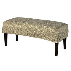 Leffler Home Pleated Short Slipcover Bench in Tiny Leaves Spruce