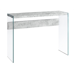 Console Table - Grey Cement With Tempered Glass