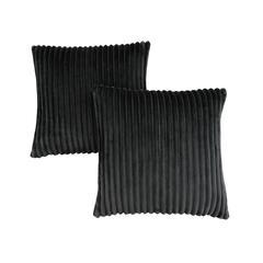 "Pillow - 18""X 18"" / Black Ultra Soft Ribbed Style / 2Pcs"
