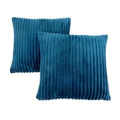 "Pillow - 18""X 18"" / Blue Ultra Soft Ribbed Style / 2Pcs"