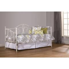 Ruby Daybed with Suspension Deck and Roll Out Trundle Unit, Textured White