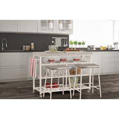Kennon Kitchen Cart Set with Granite Top with Two Non-Swivel Counter Stools - White Finish