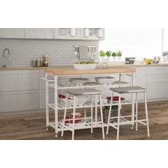 Kennon Kitchen Cart Set with Natural Wood Top with Two Non-Swivel Counter Stools - White Finish