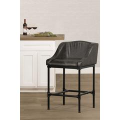 Dillon Non-Swivel Counter Stool - Charcoal Faux Leather