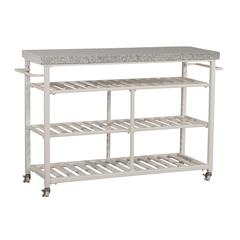 Kennon Kitchen Cart in White with Granite Top