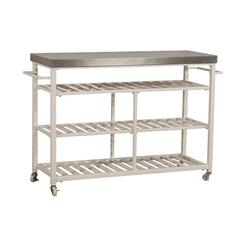Kennon Kitchen Cart in White with Stainless Steel Top