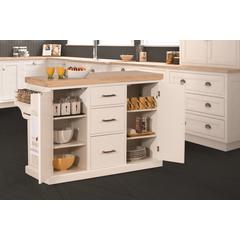 Brigham Kitchen Island in White with Wood Top