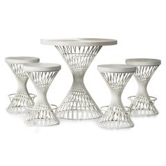 Kanister 5-Piece Round Counter Height Dining  - White Finish