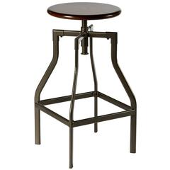 Cyprus Adjustable Backless Stool, Pewter/Distressed Cherry