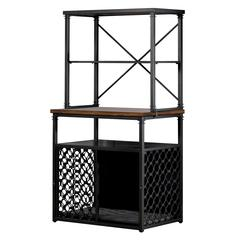 Hillsdale Furniture Pet Crate Bakers Rack Service Station with Crate Pad, Brown