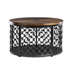 Hillsdale Furniture Round Pet Crate Coffee Table with Crate Pad, Brown