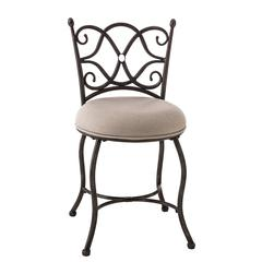 Brody Vanity Stool , Gray with Rubbed Black