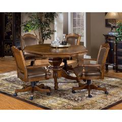 Nassau 5-Piece Game Set w/Leather Back Game Chair, Rich Oak