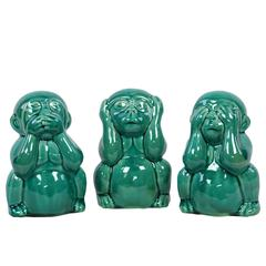 Ceramic Sitting Monkey No Evil (Hear/Speak/See) Figurine Assortment of Three Gloss Finish Turquoise