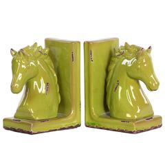 Stoneware Horse Head on Base Bookend Assortment of Two Distressed Gloss Finish Yellow Green