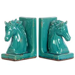 Stoneware Horse Head on Base Bookend Assortment of Two D
