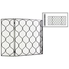 "Metal Hinged Fireplace Screen with ""Traditional Quatrefoil L"