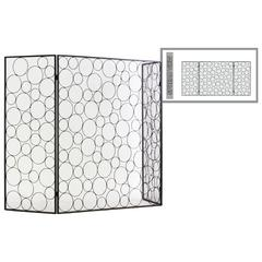 "Metal Hinged Fireplace Screen with ""Random Circle"" Design Me"