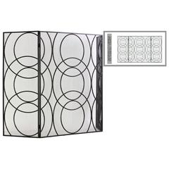 "Metal Hinged Fireplace Screen with ""Circle in Circle"" Design"
