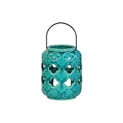 Ceramic Cylindrical Lantern with Metal Handle and Cutout Design Gloss Finish Turquoise