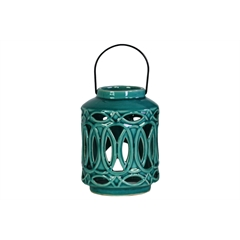 Ceramic Cylindrical Lantern with Metal Handle and Looping Cutout Design Gloss Finish Turquoise