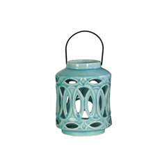 Ceramic Cylindrical Lantern with Metal Handle and Looping Cutout Design Gloss Finish Sky Blue