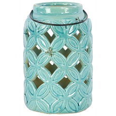 Ceramic Tall Cylindrical Lantern with Diagonal Cutout Design and Metal Handle Gloss Finish Turquoise