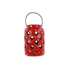 Ceramic Tall Cylindrical Lantern with Diagonal Cutout Design and Metal Handle Gloss Finish Red