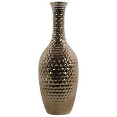 Ceramic Bellied Round Vase with Flared Lips, Long Neck, Embossed Diamond Design Body and Tapered Bottom LG Polished Chrome Finish Gold