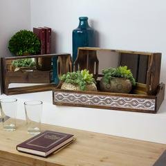 Wood Nesting Tray with Mirror Surface, Pierced Metal Side and Cutout Handle Set of Three Stained Wood Finish Brown