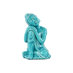 Ceramic Sitting Buddha with Rounded Ushnisha and Resting Head on Knee Figurine LG Gloss Finish Blue