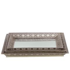 Metal Square Trays with Pierced Metal Frame and Mirror Surface Set of Three Electroplated Finish Silver