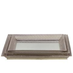 Metal Rectangular Tray with Mirror Surface and Pierced Metal Sides Set of Three Polished Chrome Finish Silver