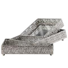 Metal Square Tray with Mirror Surface and Elevated Pierced Metal Sides Set of Three Polished Chrome Finish Silver