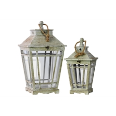 Wood Lantern with Rope Hanger and Glass Sides Set of Two Washed Finish Gray