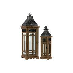 Wood Square Lantern with Black Pierced Metal Top and Ring Hanger Set of Two Weathered Wood Finish Dark Brown