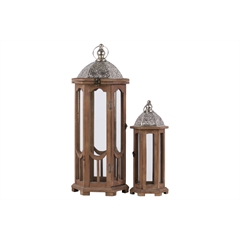 Wood Hexagonal Lantern with Silver Pierced Metal Top and Ring Hanger Set of Two Natural Wood Finish Brown