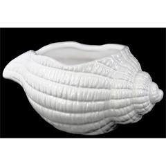 Porcelain Conch Shell Sculpture Gloss Finish White