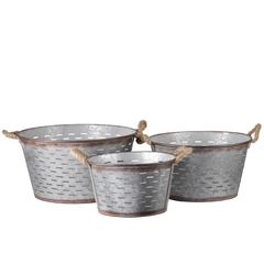 Metal Round Basket with Tapered Bottom, 2 Rope Handles and C